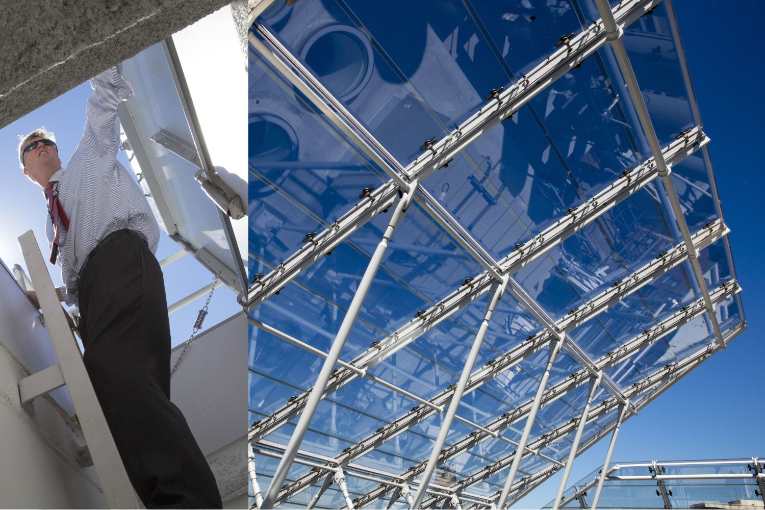 Peter Atkinson, director of facilities planning and management for the Harvard Art Museums, examines the new rooftop designed by architect Renzo Piano. Jon Chase/Harvard Staff Photographer