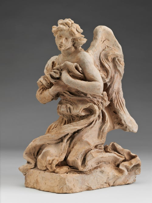 """""""Kneeling Angel,"""" 1672, by Gian Lorenzo Bernini is one of several terra cotta sketches in the Harvard Art Museums' winter garden gallery that reveal the artist's """"sculptural handwriting."""" Photo: Harvard Art Museums, © President and Fellows of Harvard College"""