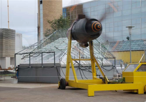 German engineers used an aircraft propeller engine to test the durability of a model section of the roof. Rob Mulligan/Skanska