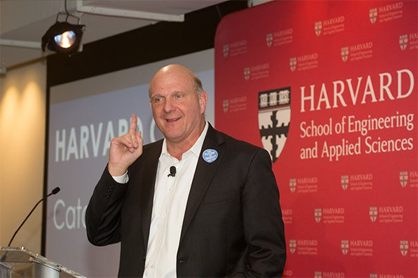 """Steve Ballmer '77 (photo 1), together with President Drew Faust (photo 2), and SEAS Dean Cherry Murray, announced that the University will increase its computer science faculty by half. The increase is the result of financial backing by Ballmer. """"In my opinion, leadership in computer science is fundamental to Harvard remaining the leading institution in education,"""" Ballmer said during a press conference today. Ballmer attended David Malan's CS50 class at Sanders Theatre on Wednesday (photo 3), where he talked with students, later taking selfies from the stage."""