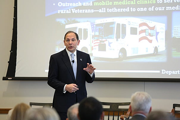 """""""I think the VA is heading in a new direction, and I would argue the right direction, and making progress,"""" U.S. Secretary of Veterans Affairs (VA) Robert McDonald told his Harvard Law School audience. Among ongoing issues, he described a """"critical shortage"""" of doctors and nurses, and the need to provide better facilities for women."""