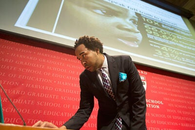 "David J. Johns, executive director of the White House Initiative on Educational Excellence for African Americans speaks about ""Closing the Gap: African American Educational Excellence"" inside the  Askwith Forum at Longfellow Hall at Harvard University. Kris Snibbe/Harvard Staff Photographer THIS"