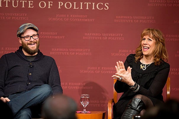 Seth Rogen, (left) actor, comedian and filmmaker;  Lizz Winstead, comedian, radio, and television personality; co-creator of ìThe Daily Show; and Alexis Wilkinson, '15 (moderator--not pictured), president, Harvard Lampoon talked about Politics & Humor at the Harvard University Kennedy School  Rose Lincoln/Harvard Staff Photographer