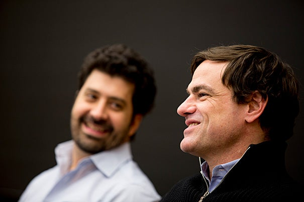 Advertising bigwigs like Marcel Pereira Marcondes (left), the marketing vice president for Anheuser-Busch InBev, and Glenn Brown of Twitter Amplify, convened at Harvard Law School this week for a panel discussion on sports and marketing.