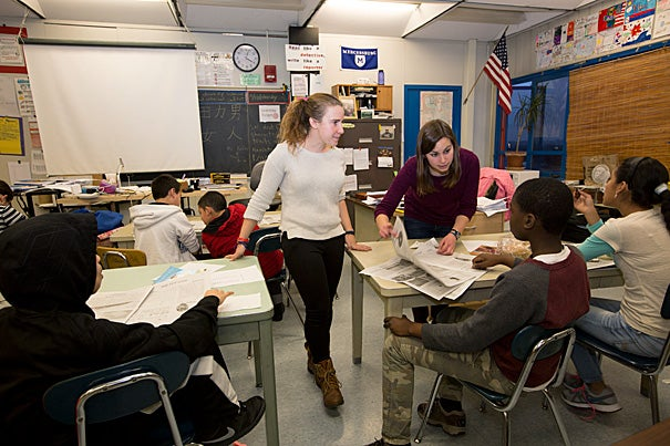 Jackie Schechter '15 (right) started Project Lede in high school, but with the help of classmate Hannah Borowsky '15 (left), brought the program to Massachusetts and partnered with the Jackson/Mann K-8 School in Allston.
