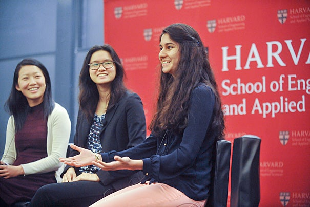 The School of Engineering and Applied Sciences hosted an event celebrating women in computer science and a commemoration of the Grace Hopper's birthday with a panel of female students including JN Fang '16, Ruth Fong '15, and Zehra Naz '15 (from left, photo 1), who discussed their earliest interest in and exposure to computer science with SEAS Professor Margo Seltzer '83 (photo 2). Aspen Institute CEO and Harvard Overseer Walter Isaacson '74 (photo 3) was also on hand to discuss Hopper's legacy.
