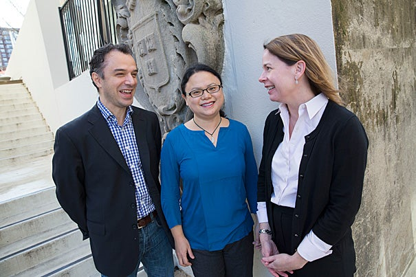 Junior Harvard faculty members Giuseppe Intini (from left), Yanmei Tie, and Mary Beth Son are among a number of recipients of a unique fellowship that aims to help budding scientists, already wrestling with knotty scientific problems, also navigate life's complexities.