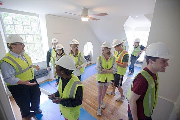 A tour of Leverett House for undergraduates living in the house for house renewal is led by Steve Needham, Senior Director of Project Management inside McKinlock Hall at Harvard University. Kris Snibbe/Harvard Staff Photographer