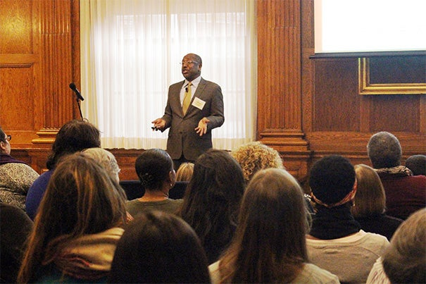 "Mark E. Fowler spoke about ways to promote respect, bridge religious differences, combat prejudice, and respectfully address religion during the holiday season at ""Religious Diversity in the Workplace: Fostering Inclusivity and Engagement,"" the second of three Faculty of Arts and Sciences diversity dialogues for this academic year."