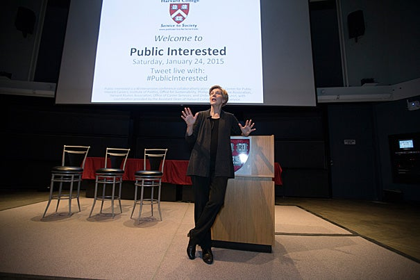 """""""Don't have such a narrow vision that when doors open that look sideways and at awkward angles that you don't have the courage to step through them, because that is where you truly get the opportunities to make a difference,"""" said U.S. Sen. Elizabeth Warren during her keynote address for """"Public Interested."""""""
