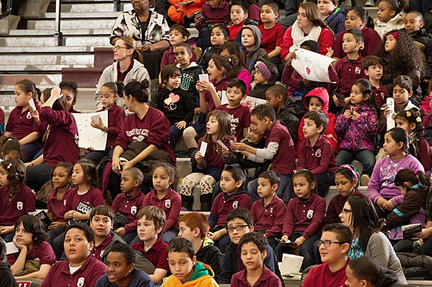 Students from the Jackson Mann K-8 School and Gardner Pilot Academy in Allston packed Lavietes Pavilion to watch the Harvard women's basketball team take on the University of Tennessee at Chattanooga.