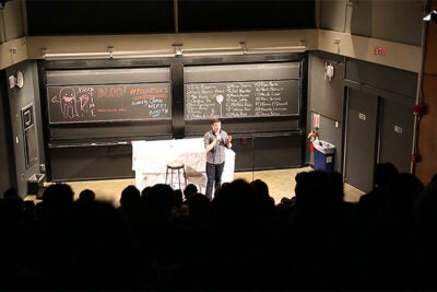 While Harvard does offer a few courses on the topic of comedy, most of the action occurs outside the classroom, in student-driven extracurricular groups that have made the University something of a comedic training ground. Joe Sherman/Harvard Staff