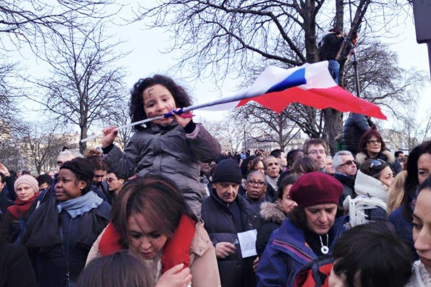 """Millions of people gathered in Paris this past Sunday in a march for national unity. """"What we have now, however, in the wake of this tragedy, is a great, symbolic moment and opportunity to open an honest conversation about these matters in a much more positive and constructive way,"""" said HKS Adjunct Professor Muriel Rouyer."""