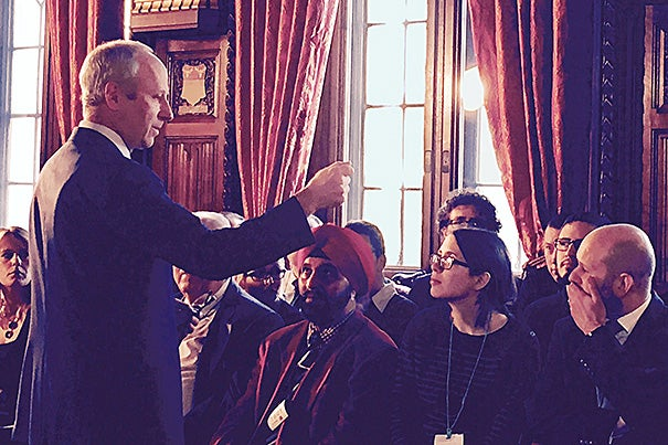 Harvard Professor Michael Sandel led members of the United Kingdom's House of Commons and House of Lords, along with students and members of the public, through an intense discussion on the nature and importance of democracy, as part of a first-of-its-kind program held in the Speaker's House in Parliament.