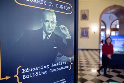 An exhibition at Harvard Business School's Baker Library celebrates the rich career of one of the School's most influential faculty members, Georges F. Doriot.