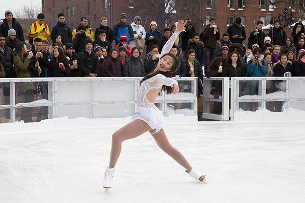 Harvard College student and 2012 Skate America silver medalist Christina Gao (pictured) was joined by 2010 U.S. Junior silver medalist Yasmin Siraj and other talented figure skaters for a live performance at the opening of Harvard Skate at the Science Center Plaza.