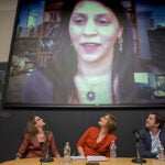 """If we relax our efforts, even for a moment, this thing [malaria] will come back and be worse than before,"" said Sonia Shah (on screen), a science journalist who was part of a panel discussion titled ""In Our Blood: Challenging Millennials to End Malaria."" Joining Shah, who used Skype to participate, were Kate Otto (from left), Maggie Koerth-Baker, and John Brownstein."