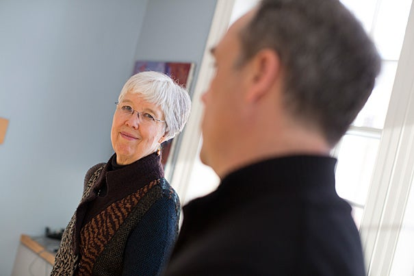 Before her lecture on the Grimké sisters, historian Louise W. Knight (left) talks about the new petitions database with Daniel Carpenter, Harvard's Allie S. Freed Professor of Government.