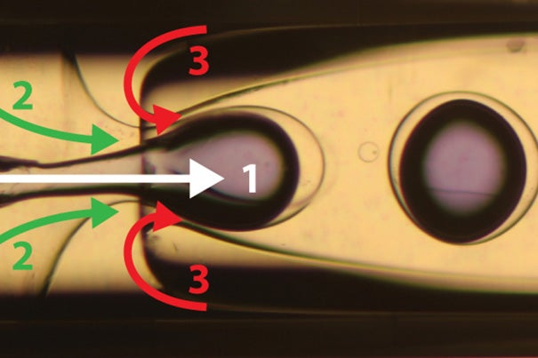 The new technique for carbon-capturing employs an abundant and environmentally benign sorbent: sodium carbonate, which is kitchen-grade baking soda. The microencapsulated carbon sorbents (MECS) achieve an order-of-magnitude increase in CO2 absorption rates compared to sorbents currently used. This illustration shows the flow-focusing microfluidic capillary device used to produce the silicone microcapsules.