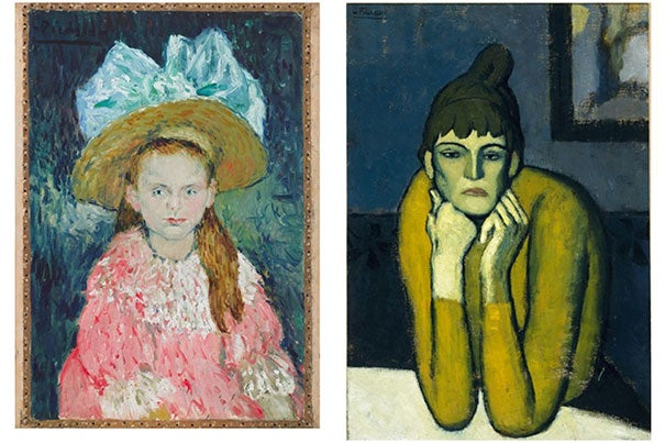 """Pablo Picasso's painting, """"Young Girl Wearing a Large Hat/Woman with a Chignon"""" (1901), is featured on the new """"Hotspots"""" digital tour at the Harvard Art Museums. The tour notes that Picasso often painted works on both sides of a canvas."""