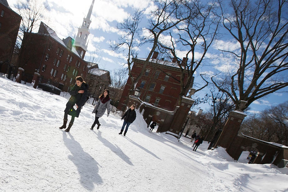 Students parade across Science Center Plaza. Rose Lincoln/Harvard Staff Photographer