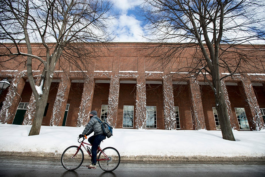 A bicyclist passes by Harvard Business School. Rose Lincoln/Harvard Staff Photographer