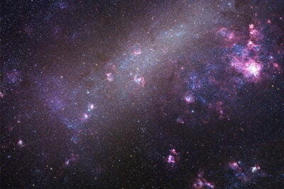 "Astronomers have identified 18 extreme mass-ratio binaries in a neighboring galaxy called the Large Magellanic Cloud (pictured). We've caught them ""in the delivery room,"" since one star is fully formed while the other is still in its infancy. These systems represent a new class of binary stars, according to CfA researchers."
