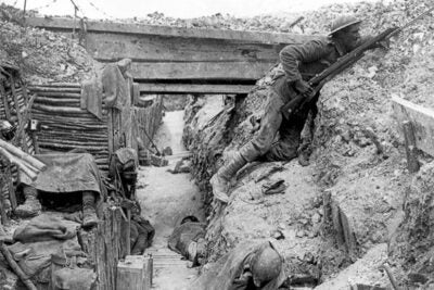 "The Mellon Seminar Fellows will present ""In Our Time: The Great War at 100,"" Feb. 12-13. December and January marked the 100th anniversary of the World War I Christmas truce that lasted well beyond the holiday in some sectors of the front. Pictured is a  trench occupied by British soldiers, July 1916."