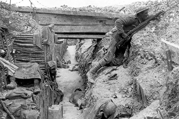 """The Mellon Seminar Fellows will present """"In Our Time: The Great War at 100,"""" Feb. 12-13. December and January marked the 100th anniversary of the World War I Christmas truce that lasted well beyond the holiday in some sectors of the front. Pictured is a  trench occupied by British soldiers, July 1916."""