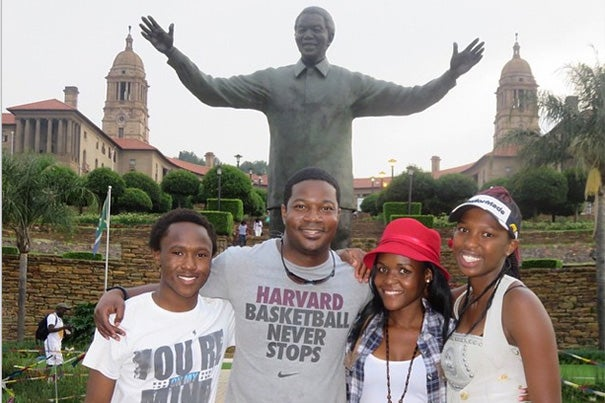 The Rev. Jonathan Walton (center, photo 1) took part in the Mamelodi Initiative, an education and community-enrichment program. In addition to seven Harvard undergrads, students from several New England colleges and the University of Pretoria led classes in math, English, science, study skills, community engagement, leadership, and entrepreneurship for primary and secondary school students (photos 2, 3).