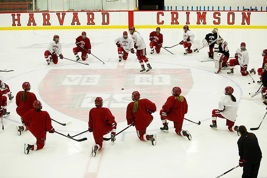 The Harvard women's hockey team practices at Bright-Landry Hockey Center. The team is currently ranked fourth in the nation. After defeating Yale in the ECAC quarterfinals, the Crimson will face No. 3-seed Quinnipiac in the ECAC semifinals this Saturday. Jon Chase/Harvard Staff Photographer