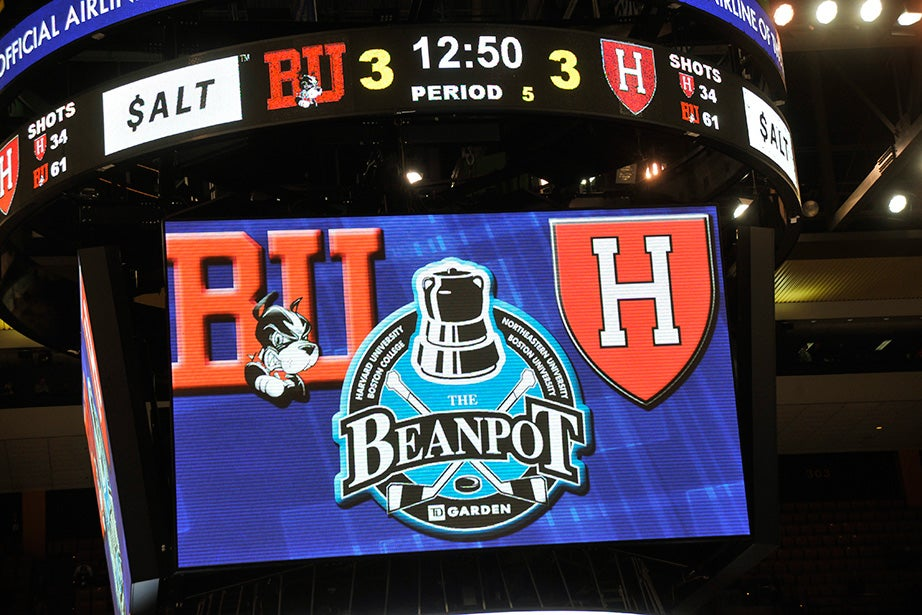 The scoreboard at TD Garden shows the score tied before the start of the fifth period, or the second overtime. BU won the game with a goal just minutes into the second overtime. Jon Chase/Harvard Staff Photographer