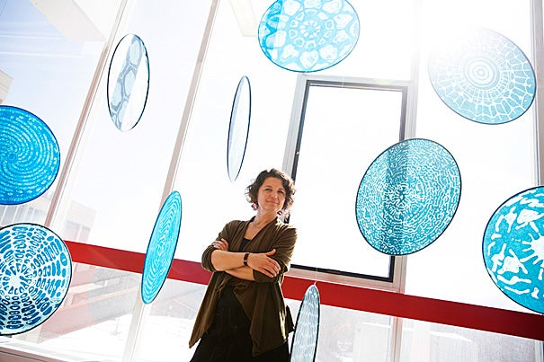 Maine-based sculptor Kim Bernard is spending a year in the Physics Department as artist-in-residence, bringing along an interest in the beauty of movement — which sets her kinetic works apart, a curiosity about the physical laws that underlie her art, and a gregarious determination to make the most of her time at Harvard.