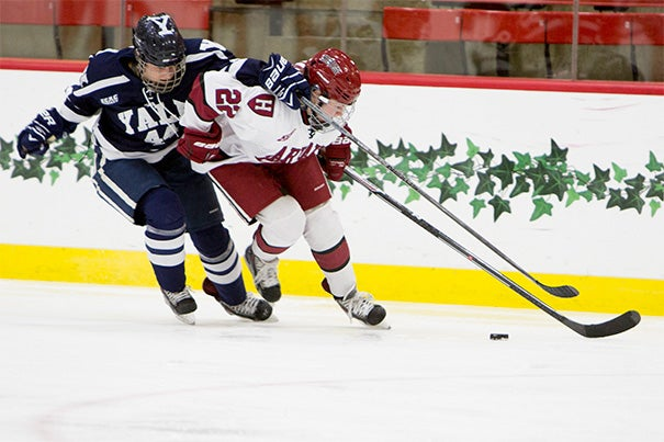 In February, Crimson's Lexie Laing '18 helped the women's hockey team beat Yale in the ECAC playoffs at Harvard.