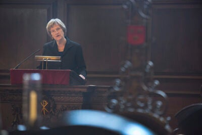 At Morning Prayers in Appleton Chapel, Harvard President Drew Faust reflected on skipping her midterm exams to march in Selma, Ala.