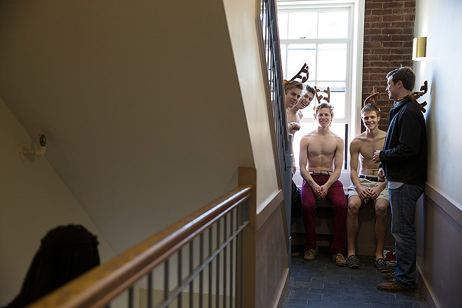 These freshmen were given their new antlers as they looked toward their future as Dunster House residents. Rose Lincoln/Harvard Staff Photographer