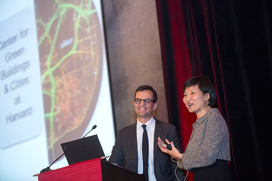 Xiaowei Zhuang and Ali Malkawi hold an interactive discussion during the Your Harvard event.