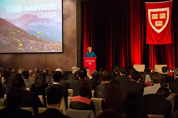 Harvard President Drew Faust joined more than 430 alumni, faculty, and friends on Sunday to celebrate the University's long and growing ties to the Middle Kingdom.