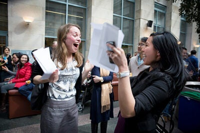 Harvard Medical School students Katherine Schiavoni (left) and Johanna Sheufind are ecstatic when they learn they are both headed to Massachusetts General Hospital.