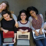 """Emi Nietfeld '15 (from left, photo 1), Ana-Maria Constantin '16, Amna Hashmi '16, Ramya Rangan '16, and J.N. Fang '16 are members of Harvard Women in Computer Science, which promotes women in the male-dominated field. """"They're getting to the heart of some of the challenges,"""" said Margo I. Seltzer (photo 2), Herchel Smith Professor of Computer Science at SEAS, who, along with Radhika Nagpal (far right, photo 3), the Fred Kavli Professor of Computer Science, advises the group."""
