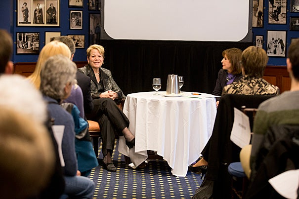 On campus to receive the Luise Vosgerchian Teaching Award, which is administered by the Learning from Performers Program of the Office for the Arts, Baltimore Symphony Orchestra Music Director Marin Alsop (left) also engaged in a wide-ranging and entertaining conversation with Dean of Arts and Humanities Diana Sorensen (right).
