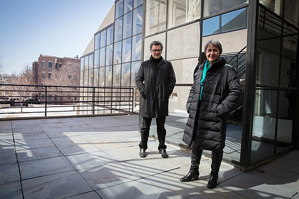 Architects Anne Lacaton (right) and Jean-Philippe Vassal were at the Harvard Graduate School of Design recently to discuss social architecture based on economy, modesty, and the found beauty of environments.