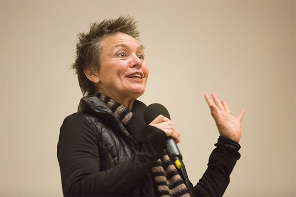 Delivering the Louis C. Elson Lecture, musician and performance artist Laurie Anderson discussed the stories and inspirations behind her works, which included everything from dogs to a grandmother's death.