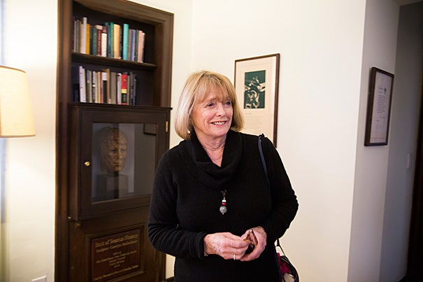 Seamus Heaney's widow, Marie, was in Cambridge last weekend for the dedication of a suite in Adams House in honor of the late Irish poet and Noble laureate. Heaney stayed in the suite during his stints at Harvard as a visiting professor beginning in 1979, as the Boylston Professor of Rhetoric and Oratory from 1984 to 1995, and as the Ralph Waldo Emerson Poet in Residence, a position he held until 2006. The suite, a reflective, quiet workspace, has been outfitted with Heaney's poetry and other writing.