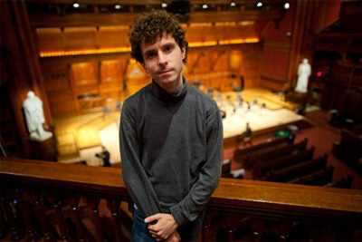 """In May, Harvard alum Matt Aucoin's opera """"Crossing"""" will premiere with the American Repertory Theater as part of the theater's involvement with the Harvard Civil War Project. Aucoin '12 said he started working on the first draft in December 2012."""