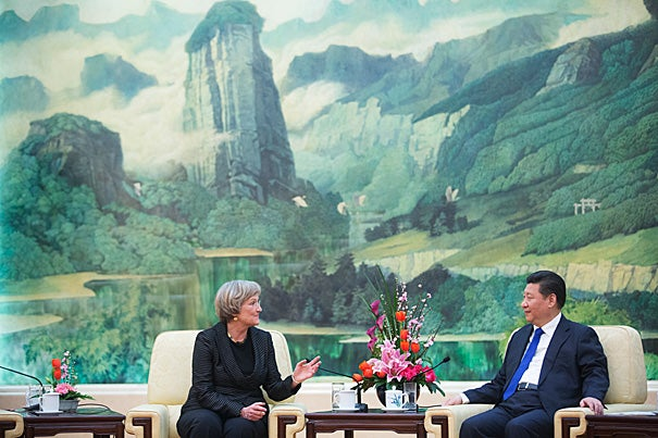 Harvard President Drew Faust meets with Xi Jinping, President of China inside the The Great Hall of the People in Beijing, China as a Harvard delegation looks on. Kris Snibbe/Harvard Staff Photographer