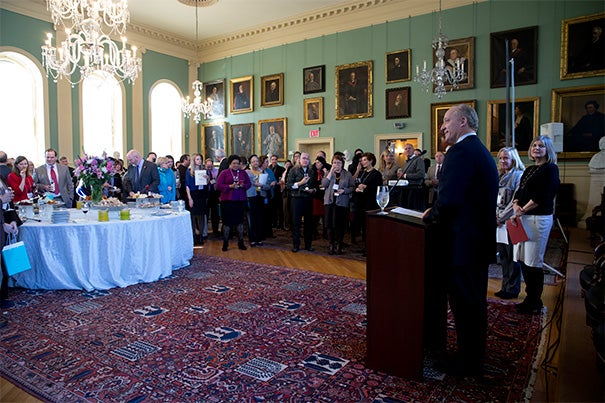 """""""Our faculty are able to do the work they do and our students have access to the exceptional educational programs we offer here at Harvard because of the individuals in this room and the incredible work they do,"""" said Edgerley Family Dean of the Faculty of Arts and Sciences Michael D. Smith."""