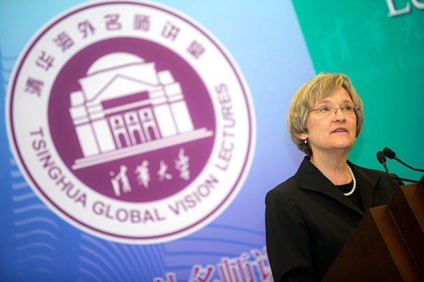 "President Drew Faust delivered ""Universities and the Challenge of Climate Change"" as part of the Tsinghua Global Vision Lecture series. Her speech marked the culmination of a series of events in Beijing at which climate change was a central topic."
