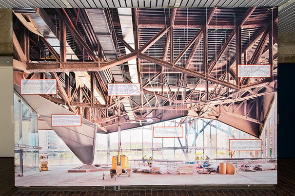 """An architectural photo from """"Dualisms: Abalos + Sentkiewicz"""" in the main exhibition space at Gund Hall."""