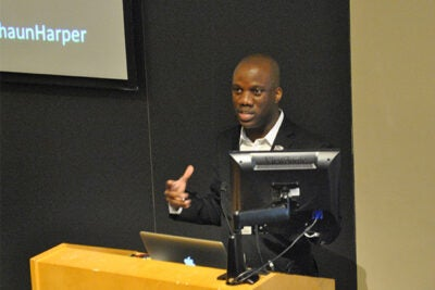 """Shaun Harper, executive director of the Center for the Study of Race and Equity in Education at the University of Pennsylvania, addressed """"Fostering an Inclusive Campus Environment: From Magical Thinking to Strategy and Intentionality"""" as the inaugural presenter for the Harvard College Visiting Scholar Program earlier this month."""